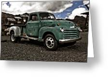 Vintage Green Chevrolet Truck Greeting Card by Gianfranco Weiss