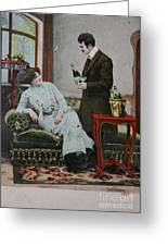 Vintage Handtinted Postcard Of 1904 Of Two Lovers Greeting Card by Patricia Hofmeester