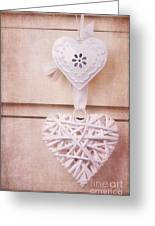Vintage Hearts With Texture Greeting Card by Jane Rix