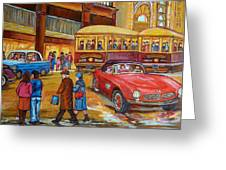 Vintage Montreal-st.catherine And Union-couples And Streetcars Greeting Card by Carole Spandau