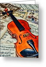 Vintage Music And Violin Greeting Card by Paul Ward