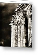 Vintage Notre Dame Details Greeting Card by John Rizzuto