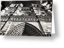 Vintage Notre Dame Greeting Card by John Rizzuto