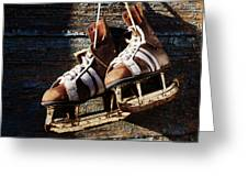 Vintage Pair Of Mens  Ice Skates Hanging On A Wooden Wall With C Greeting Card by Mikhail Olykaynen