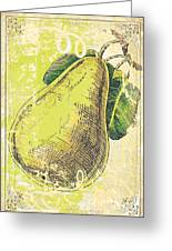 Vintage Pear Print Greeting Card by Anahi DeCanio