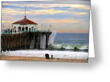 Vintage Pier Greeting Card by Joe Schofield