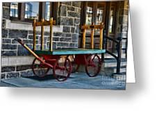 Vintage Train Baggage Wagon Greeting Card by Paul Ward