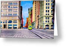 Vintage View Of New York City - Union Square Greeting Card by Mark E Tisdale
