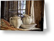 Vintage Wash Bowl And Pitcher Greeting Card by Lynn Palmer