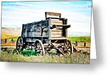 Vintaged Covered Wagon Greeting Card by Athena Mckinzie