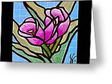 Violet Tulip Trinity Greeting Card by Jim Harris