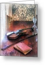 Violin On Credenza Greeting Card by Susan Savad