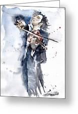Violine Player 1 Greeting Card by Yuriy  Shevchuk