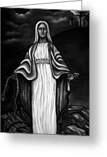Virgen Mary In Black And White Greeting Card by Carmen Cordova
