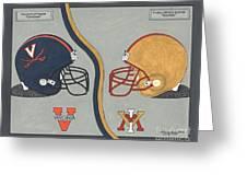 Virginia Cavaliers And Vmi Keydets Helmets Greeting Card by Herb Strobino