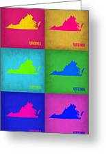 Virginia Pop Art Map 1 Greeting Card by Naxart Studio