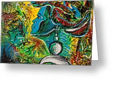 Visage Bleu Greeting Card by Kenal Louis