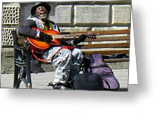 Vision of Ecstasy from Itinerant Street Musician at Bath Somerset England Greeting Card by Robert Ford