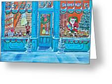 Visit To The Toy Shop Santa Greeting Card by Gordon Wendling
