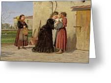 Visiting The Wet Nurse Greeting Card by Silvestro Lega