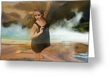 Volcano Goddess Greeting Card by Kim Cyprian