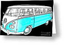 Volkswagen Turquoise Greeting Card by Cheryl Young
