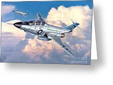 Voodoo In The Clouds - F-101B Voodoo Greeting Card by Stu Shepherd