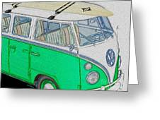 Vw Surf Bus Greeting Card by Cheryl Young