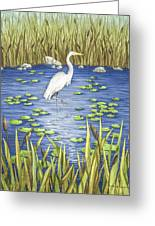 Wading And Watching Greeting Card by Katherine Young-Beck