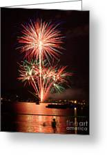 Wading View Of Fireworks Greeting Card by Mark Miller
