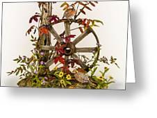 Wagon Wheel And Quail Greeting Card by Mary Mcgrath