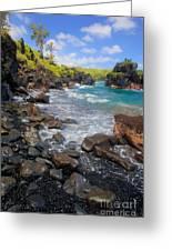 Waianapanapa Rocks Greeting Card by Inge Johnsson