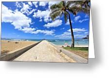 Waikiki Wall Greeting Card by DJ Florek