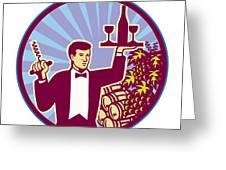Waiter Serving Wine Glass Bottle Retro Greeting Card by Aloysius Patrimonio