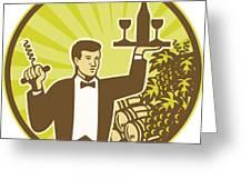 Waiter Serving Wine Grapes Barrel Retro Greeting Card by Aloysius Patrimonio