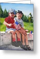 Waiting For The Parade Greeting Card by Lori Brackett