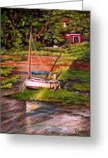 Waiting For The Tide Greeting Card by Eileen Patten Oliver