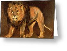 Walking Lion Greeting Card by Theodore Gericault