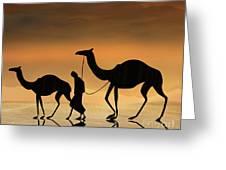 Walking The Sahara Greeting Card by Bedros Awak