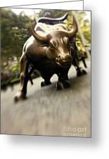 Wall Street Bull Greeting Card by Tony Cordoza