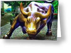 Wall Street Bull V2 Greeting Card by Wingsdomain Art and Photography