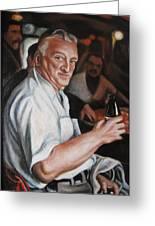 Walter At Eddies Bar Greeting Card by Melinda Saminski