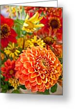 Warm Colored Flower Bouquet With Round Dahlia Greeting Card by Valerie Garner