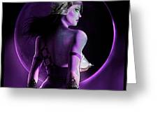 Warrior Goddess of the Purple Moon Greeting Card by Renee Reeser Zelnick
