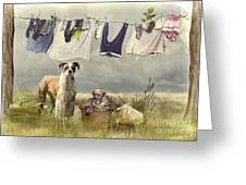 Wash Day Greeting Card by Trudi Simmonds