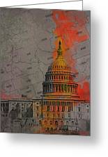 Washington City Collage Greeting Card by Corporate Art Task Force