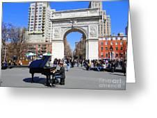 Washington Square Pianist Greeting Card by Ed Weidman