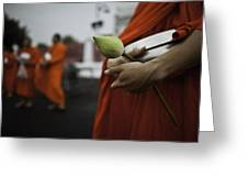 Wat Bencha Gathering Greeting Card by David Longstreath
