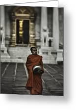 Wat Bencha Monk Greeting Card by David Longstreath
