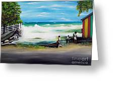 Watching The Tide Greeting Card by Kenneth Harris